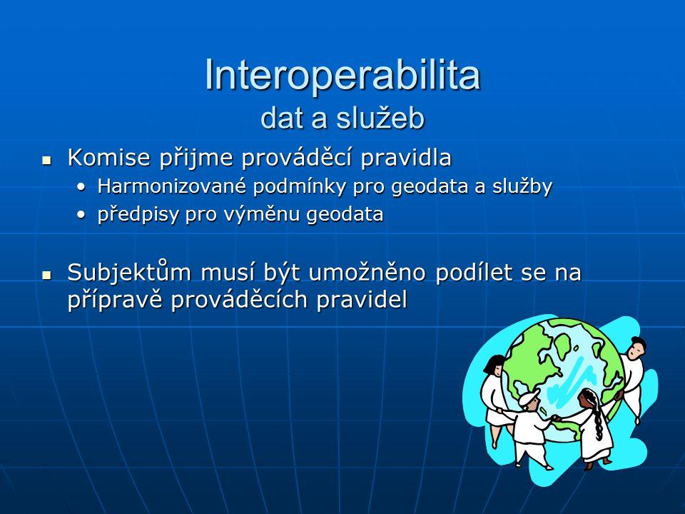 Interoperabilita dat a služeb Komise přijme prováděcí pravidla Komise přijme prováděcí pravidla Harmonizované podmínky pro geodata a službyHarmonizované podmínky pro geodata a služby předpisy pro výměnu geodatapředpisy pro výměnu geodata Subjektům musí být umožněno podílet se na přípravě prováděcích pravidel Subjektům musí být umožněno podílet se na přípravě prováděcích pravidel
