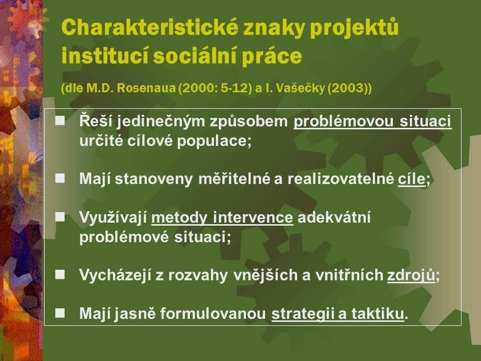 Charakteristické znaky projektů institucí sociální práce (dle M.D.