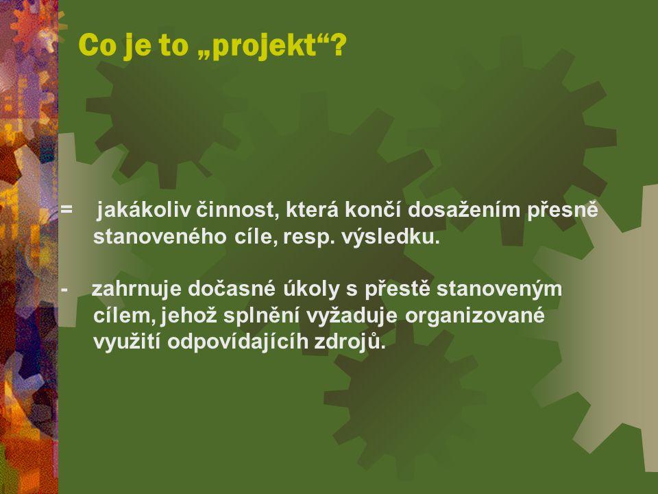 """Co je to """"projekt .= jakákoliv činnost, která končí dosažením přesně stanoveného cíle, resp."""