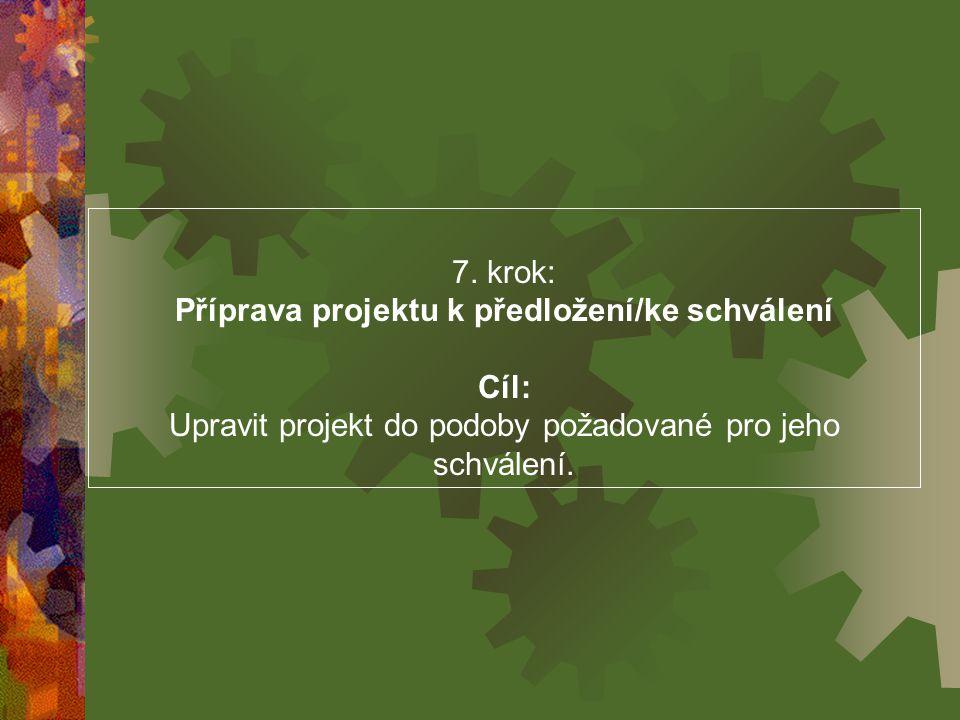 7. krok: Příprava projektu k předložení/ke schválení Cíl: Upravit projekt do podoby požadované pro jeho schválení.