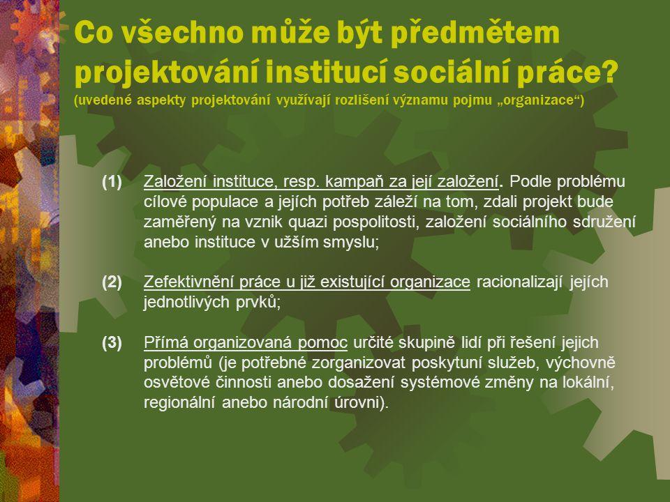 Co všechno může být předmětem projektování institucí sociální práce.
