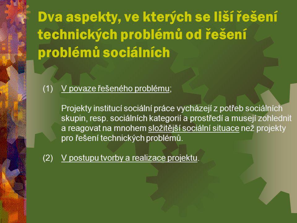 Dva aspekty, ve kterých se liší řešení technických problémů od řešení problémů sociálních (1) V povaze řešeného problému; Projekty institucí sociální práce vycházejí z potřeb sociálních skupin, resp.