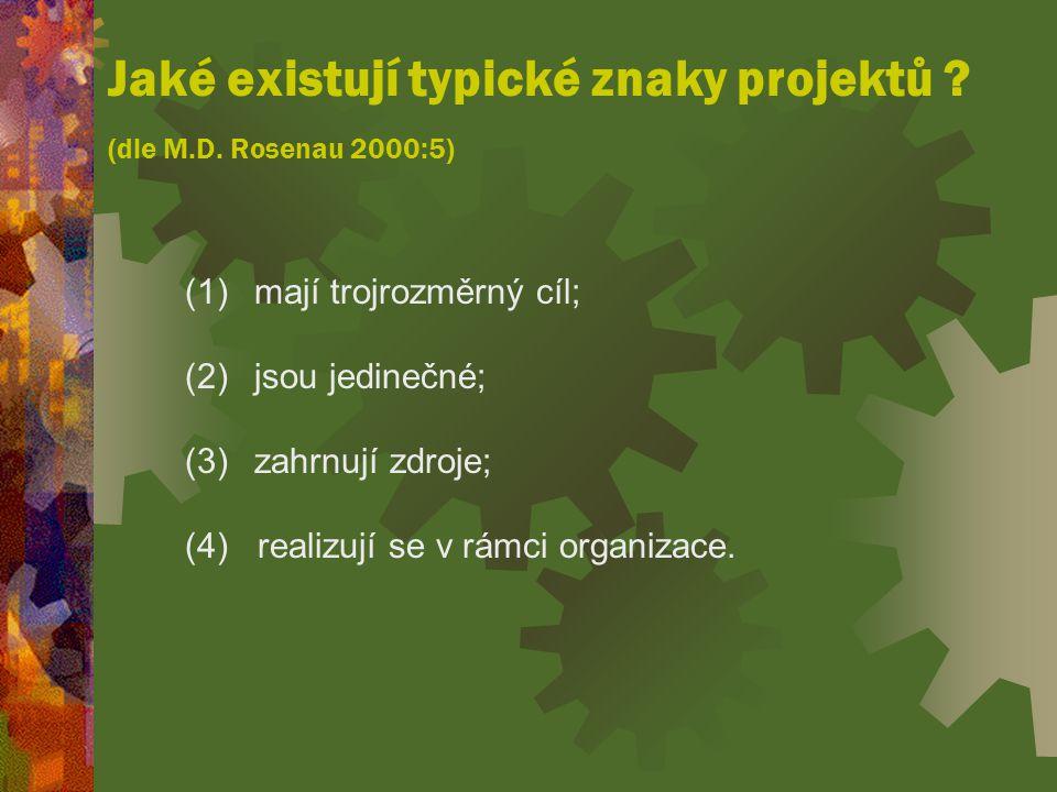 Jaké existují typické znaky projektů .(dle M.D.