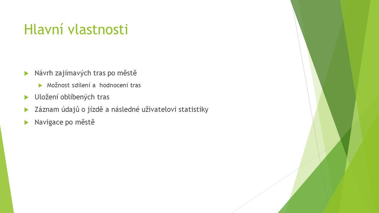 Hlavní vlastnosti  Návrh zajímavých tras po městě  Možnost sdílení a hodnocení tras  Uložení oblíbených tras  Záznam údajů o jízdě a následné uživatelovi statistiky  Navigace po městě