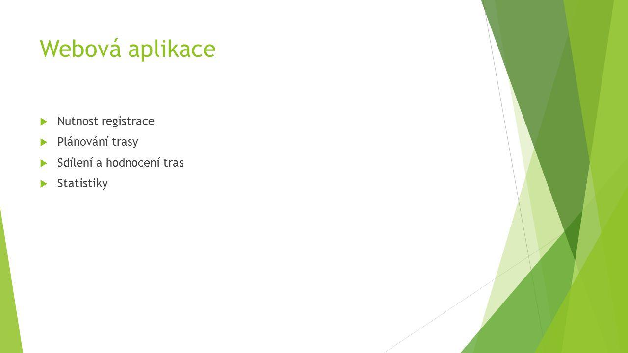 Webová aplikace  Nutnost registrace  Plánování trasy  Sdílení a hodnocení tras  Statistiky