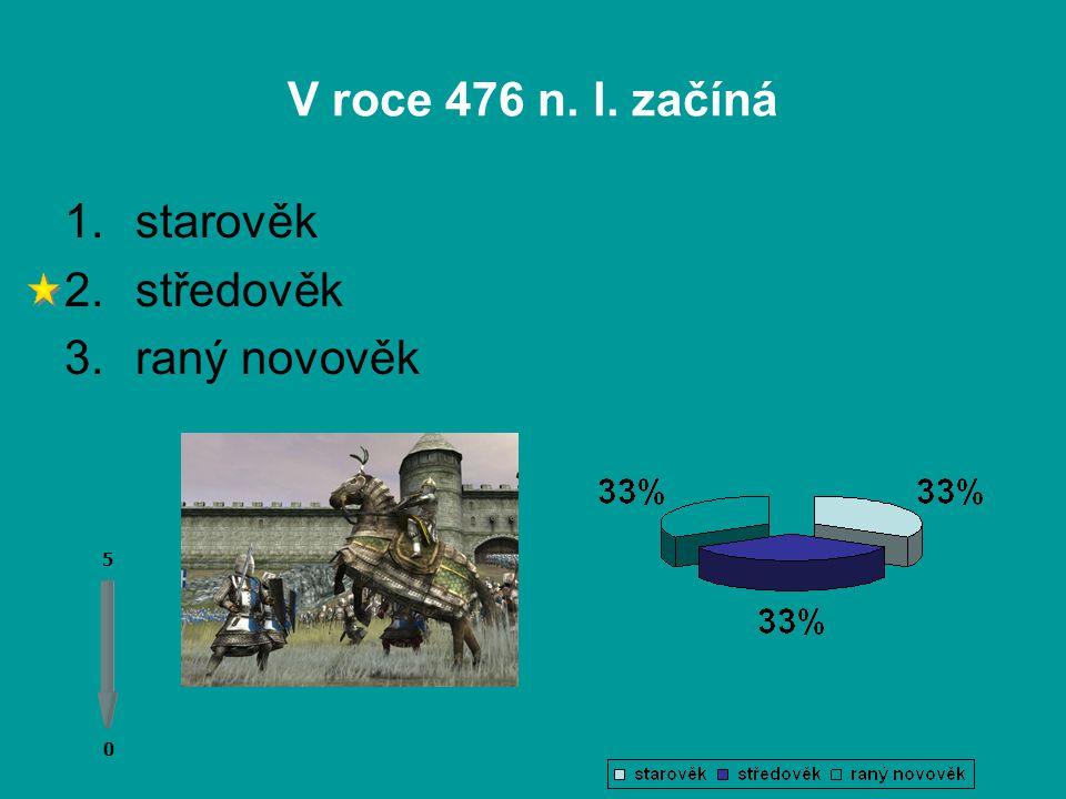 V roce 476 n. l. začíná 0 0 5 1.starověk 2.středověk 3.raný novověk