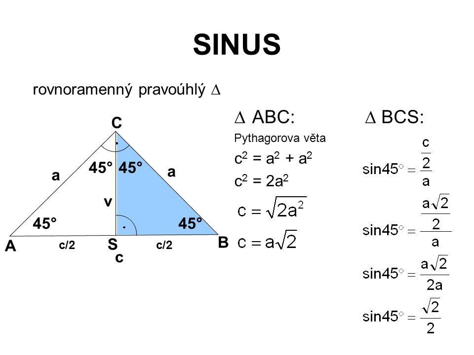 SINUS rovnoramenný pravoúhlý   ABC: Pythagorova věta c 2 = a 2 + a 2 c 2 = 2a 2 45° v A B C c/2 S a a c 45°  BCS: