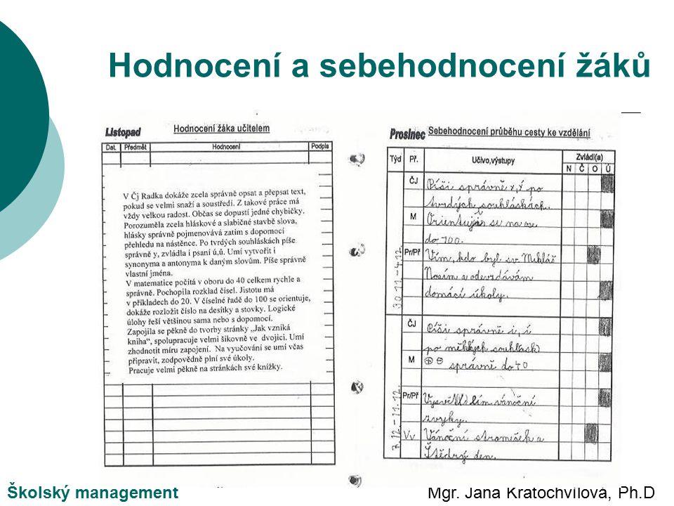 Mgr. Jana Kratochvílová, Ph.DŠkolský management Hodnocení a sebehodnocení žáků