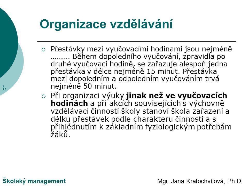 Mgr. Jana Kratochvílová, Ph.DŠkolský management Organizace vzdělávání  Přestávky mezi vyučovacími hodinami jsou nejméně ………. Během dopoledního vyučov