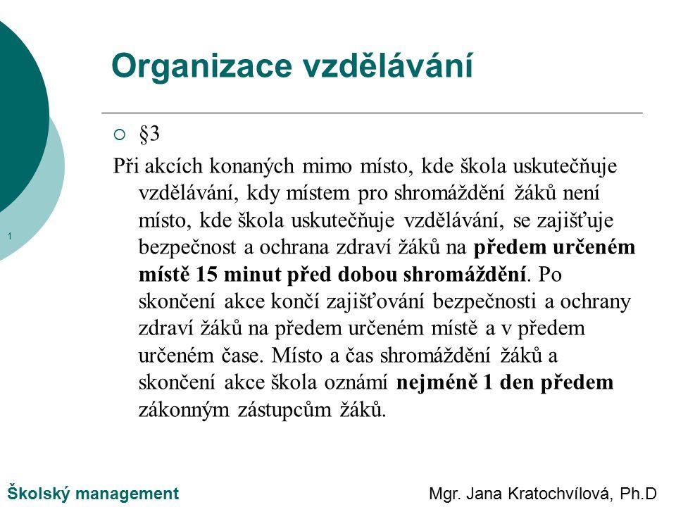 Mgr. Jana Kratochvílová, Ph.DŠkolský management  §3 Při akcích konaných mimo místo, kde škola uskutečňuje vzdělávání, kdy místem pro shromáždění žáků
