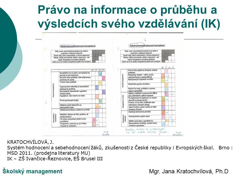 Mgr. Jana Kratochvílová, Ph.DŠkolský management KRATOCHVÍLOVÁ, J.