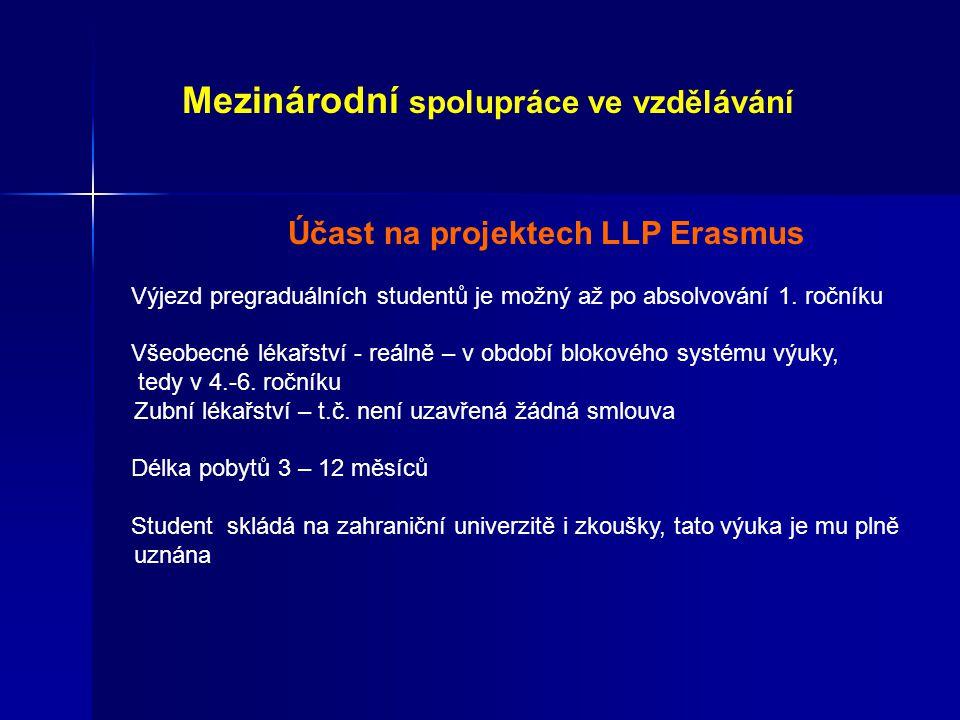 Účast na projektech LLP Erasmus Výjezd pregraduálních studentů je možný až po absolvování 1.