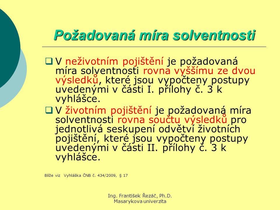 Ing. František Řezáč, Ph.D. Masarykova univerzita Požadovaná míra solventnosti  V neživotním pojištění je požadovaná míra solventnosti rovna vyššímu