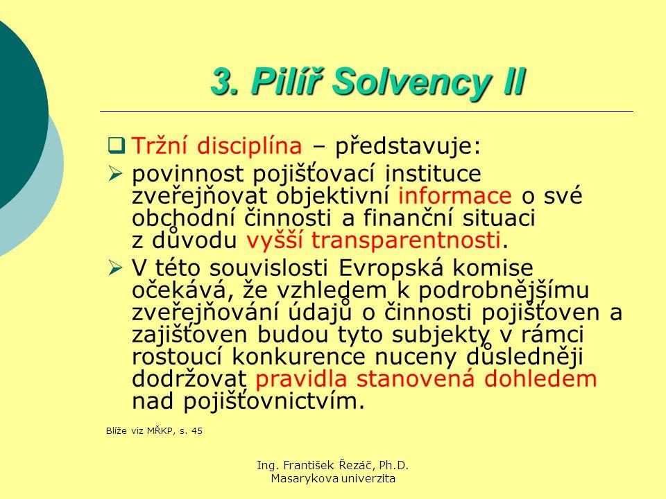 Ing. František Řezáč, Ph.D. Masarykova univerzita 3. Pilíř Solvency II  Tržní disciplína – představuje:  povinnost pojišťovací instituce zveřejňovat