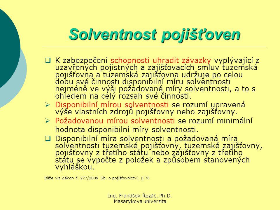 Ing. František Řezáč, Ph.D. Masarykova univerzita Solventnost pojišťoven  K zabezpečení schopnosti uhradit závazky vyplývající z uzavřených pojistnýc