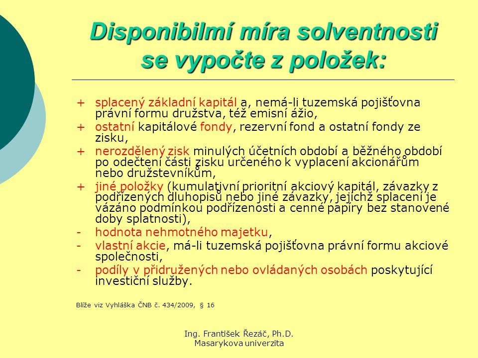 Ing. František Řezáč, Ph.D. Masarykova univerzita Disponibilmí míra solventnosti se vypočte z položek: + splacený základní kapitál a, nemá-li tuzemská