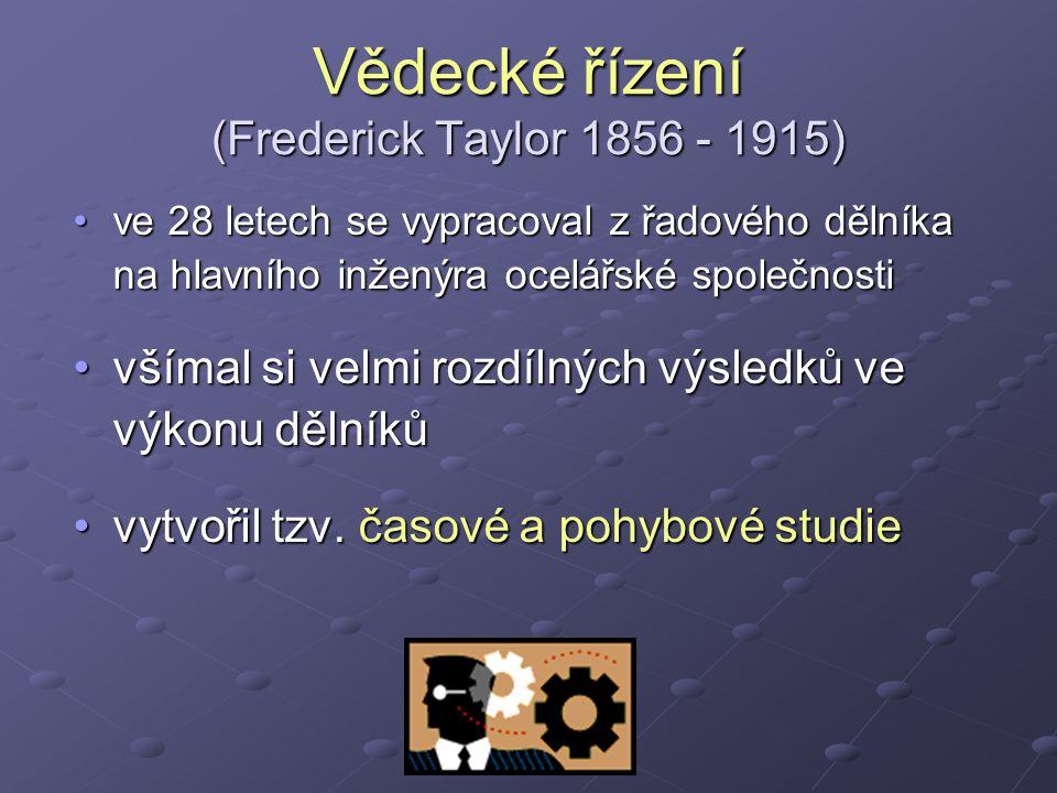 Vědecké řízení (Frederick Taylor 1856 - 1915) ve 28 letech se vypracoval z řadového dělníka na hlavního inženýra ocelářské společnostive 28 letech se vypracoval z řadového dělníka na hlavního inženýra ocelářské společnosti všímal si velmi rozdílných výsledků ve výkonu dělníkůvšímal si velmi rozdílných výsledků ve výkonu dělníků vytvořil tzv.