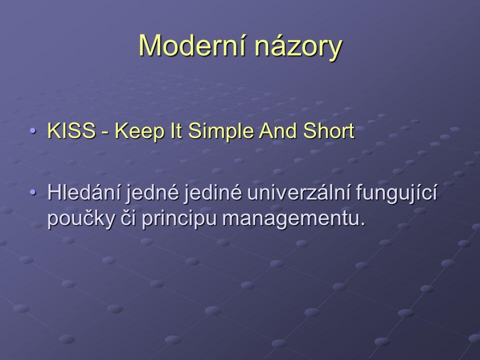 Moderní názory KISS - Keep It Simple And ShortKISS - Keep It Simple And Short Hledání jedné jediné univerzální fungující poučky či principu managementu.Hledání jedné jediné univerzální fungující poučky či principu managementu.