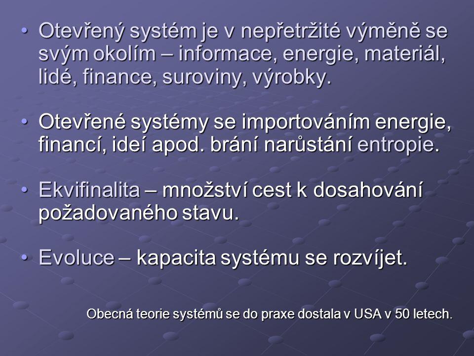 Otevřený systém je v nepřetržité výměně se svým okolím – informace, energie, materiál, lidé, finance, suroviny, výrobky.Otevřený systém je v nepřetržité výměně se svým okolím – informace, energie, materiál, lidé, finance, suroviny, výrobky.