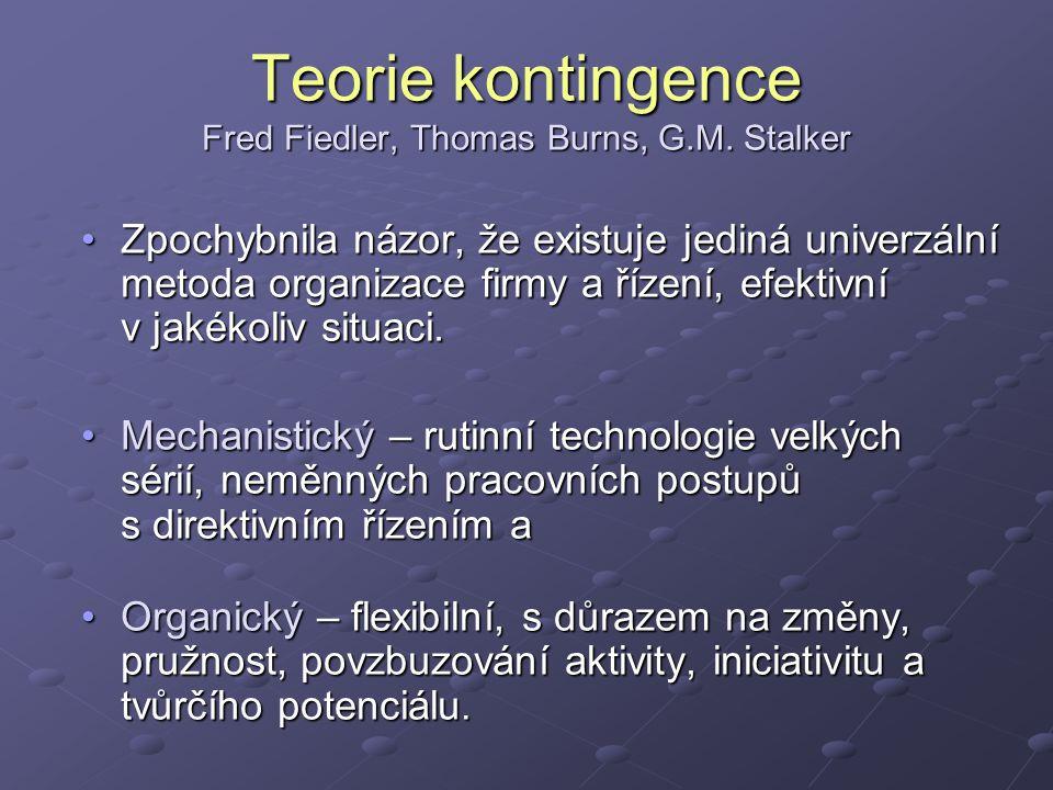 Teorie kontingence Fred Fiedler, Thomas Burns, G.M.