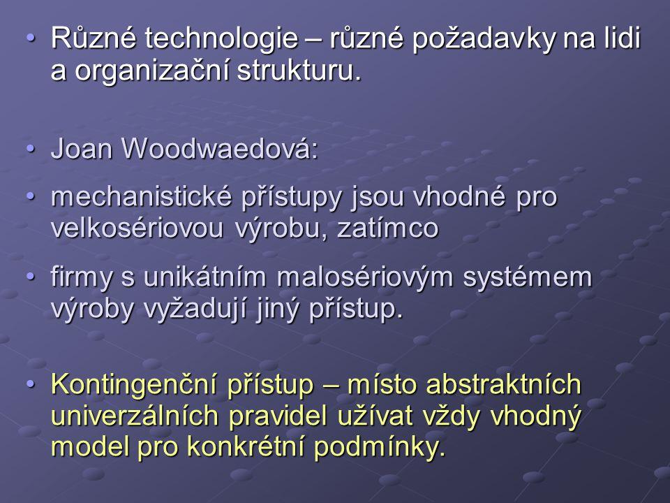 Různé technologie – různé požadavky na lidi a organizační strukturu.Různé technologie – různé požadavky na lidi a organizační strukturu.