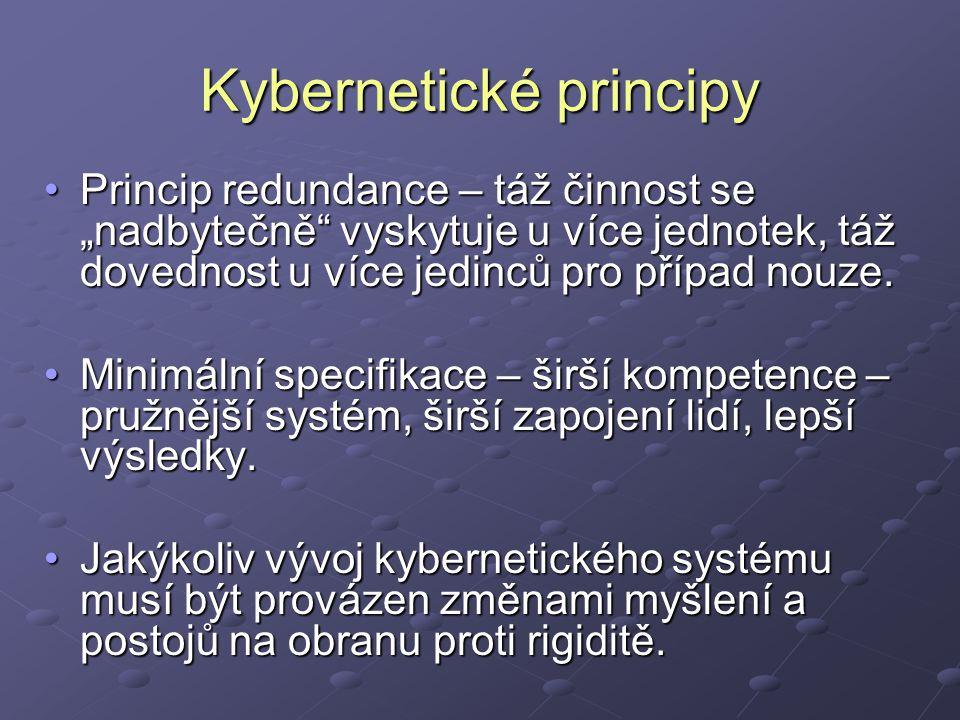 """Kybernetické principy Princip redundance – táž činnost se """"nadbytečně vyskytuje u více jednotek, táž dovednost u více jedinců pro případ nouze.Princip redundance – táž činnost se """"nadbytečně vyskytuje u více jednotek, táž dovednost u více jedinců pro případ nouze."""