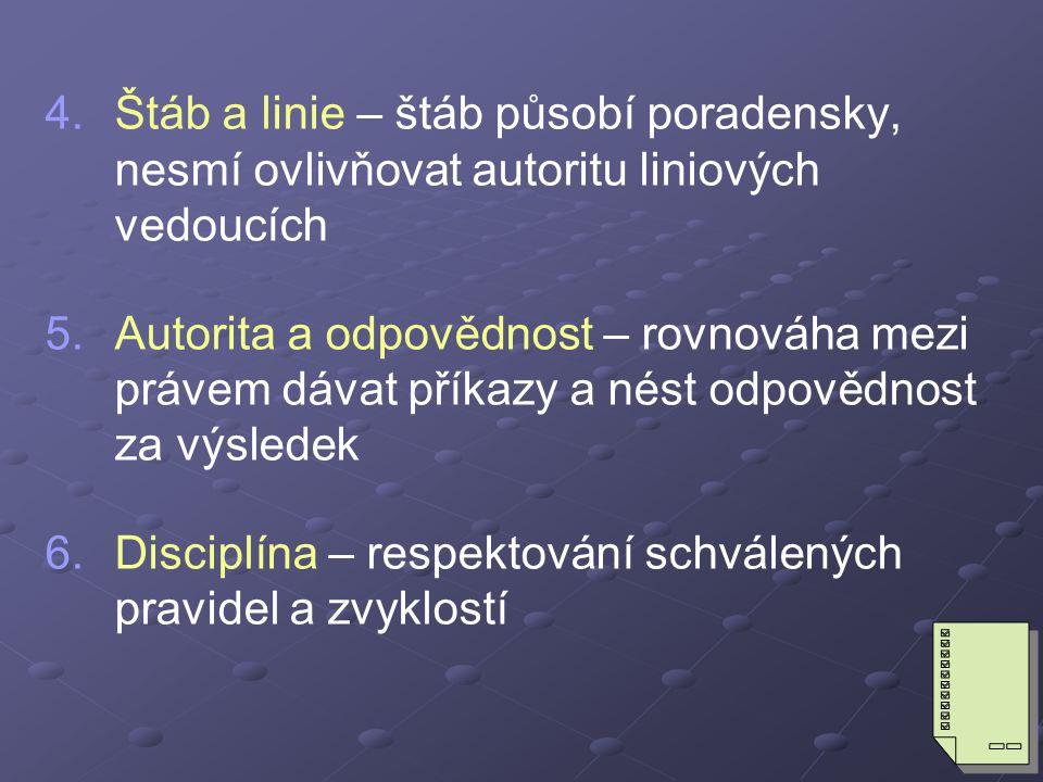 4.4.Štáb a linie – štáb působí poradensky, nesmí ovlivňovat autoritu liniových vedoucích 5.