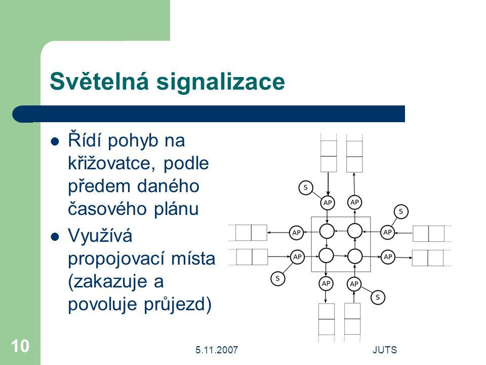5.11.2007JUTS 10 Světelná signalizace Řídí pohyb na křižovatce, podle předem daného časového plánu Využívá propojovací místa (zakazuje a povoluje průjezd)