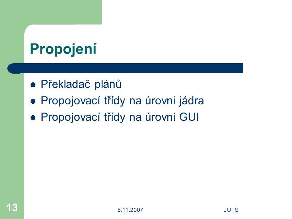 5.11.2007JUTS 13 Propojení Překladač plánů Propojovací třídy na úrovni jádra Propojovací třídy na úrovni GUI