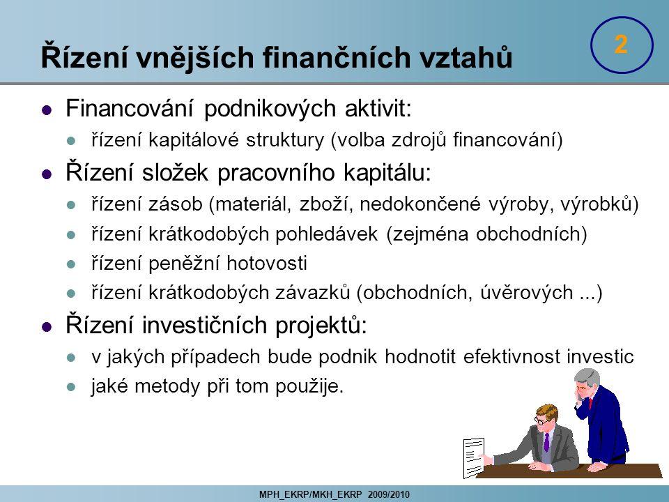MPH_EKRP/MKH_EKRP 2009/2010 Řízení vnějších finančních vztahů Financování podnikových aktivit: řízení kapitálové struktury (volba zdrojů financování)