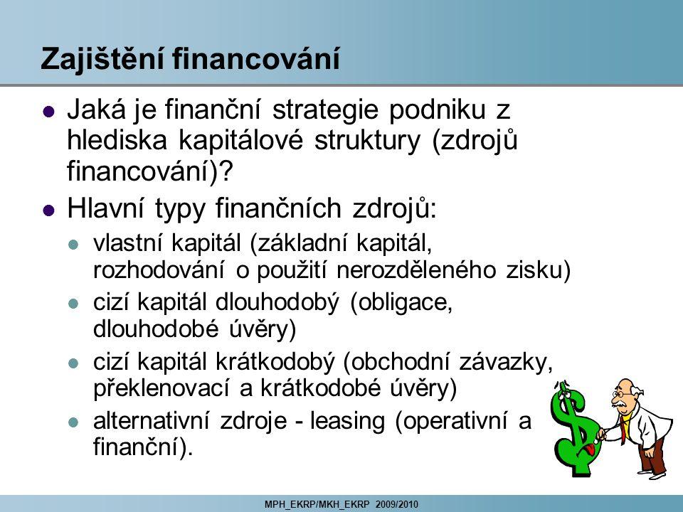 MPH_EKRP/MKH_EKRP 2009/2010 Zajištění financování Jaká je finanční strategie podniku z hlediska kapitálové struktury (zdrojů financování)? Hlavní typy