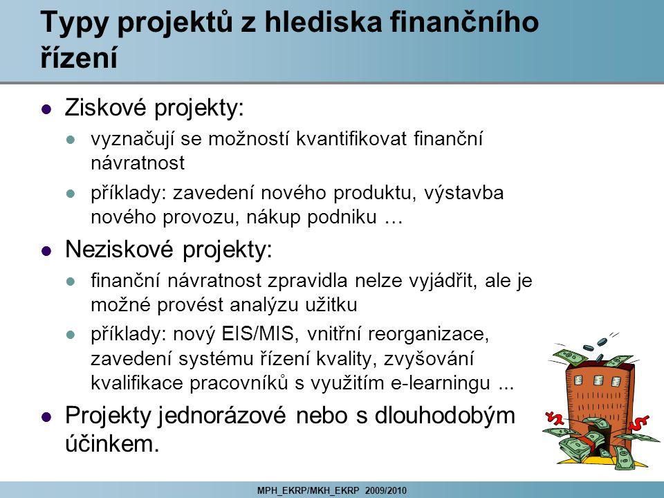 MPH_EKRP/MKH_EKRP 2009/2010 Typy projektů z hlediska finančního řízení Ziskové projekty: vyznačují se možností kvantifikovat finanční návratnost příkl