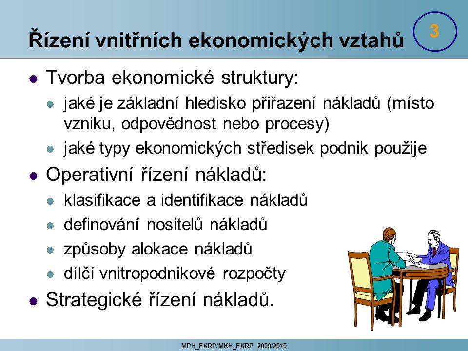 MPH_EKRP/MKH_EKRP 2009/2010 Řízení vnitřních ekonomických vztahů Tvorba ekonomické struktury: jaké je základní hledisko přiřazení nákladů (místo vznik