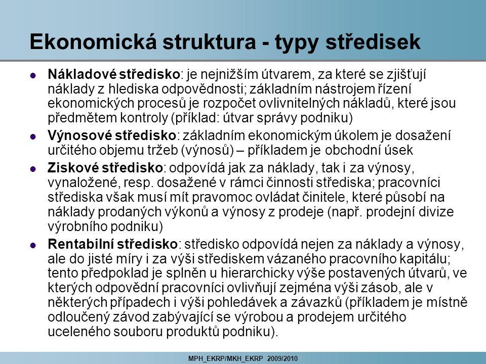 MPH_EKRP/MKH_EKRP 2009/2010 Ekonomická struktura - typy středisek Nákladové středisko: je nejnižším útvarem, za které se zjišťují náklady z hlediska o