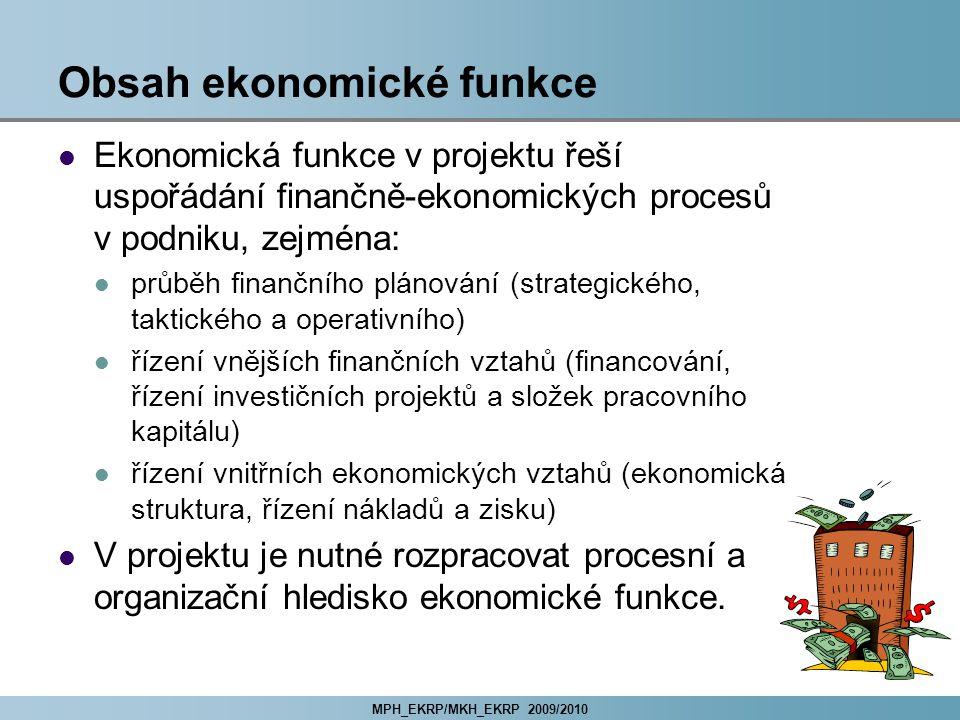 MPH_EKRP/MKH_EKRP 2009/2010 Obsah ekonomické funkce Ekonomická funkce v projektu řeší uspořádání finančně-ekonomických procesů v podniku, zejména: prů