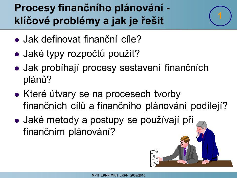MPH_EKRP/MKH_EKRP 2009/2010 Procesy finančního plánování - klíčové problémy a jak je řešit Jak definovat finanční cíle? Jaké typy rozpočtů použít? Jak