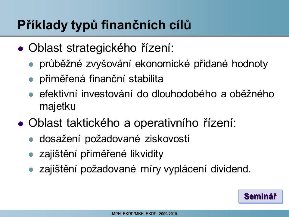 MPH_EKRP/MKH_EKRP 2009/2010 Příklady typů finančních cílů Oblast strategického řízení: průběžné zvyšování ekonomické přidané hodnoty přiměřená finančn