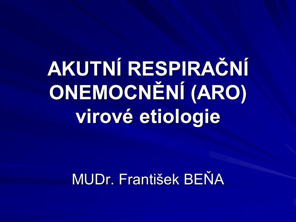 AKUTNÍ RESPIRAČNÍ ONEMOCNĚNÍ (ARO) virové etiologie MUDr. František BEŇA