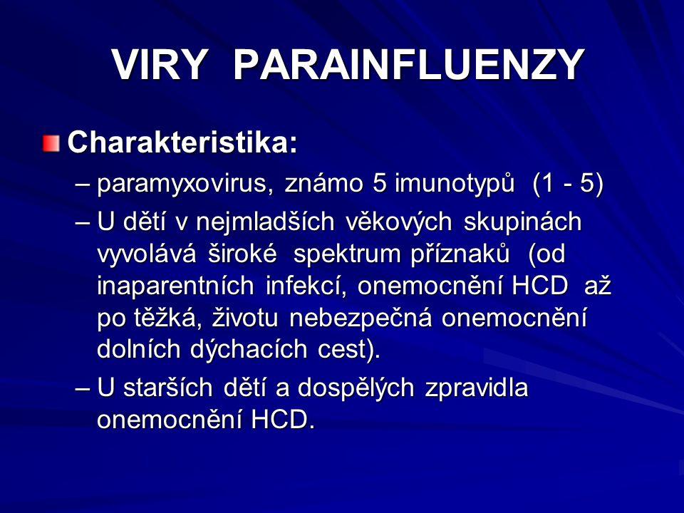 VIRY PARAINFLUENZY VIRY PARAINFLUENZY Charakteristika: –paramyxovirus, známo 5 imunotypů (1 - 5) –U dětí v nejmladších věkových skupinách vyvolává šir
