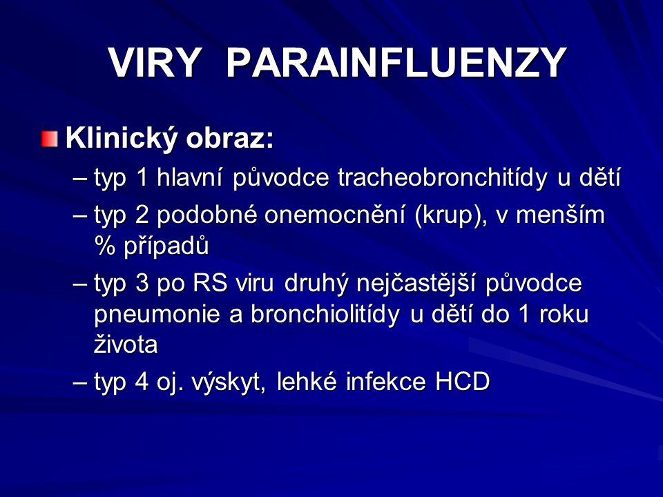 VIRY PARAINFLUENZY VIRY PARAINFLUENZY Klinický obraz: –typ 1 hlavní původce tracheobronchitídy u dětí –typ 2 podobné onemocnění (krup), v menším % pří