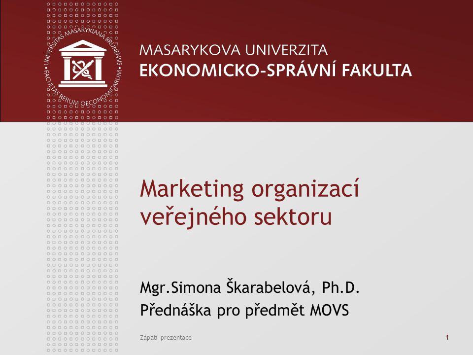 Zápatí prezentace1 Marketing organizací veřejného sektoru Mgr.Simona Škarabelová, Ph.D. Přednáška pro předmět MOVS