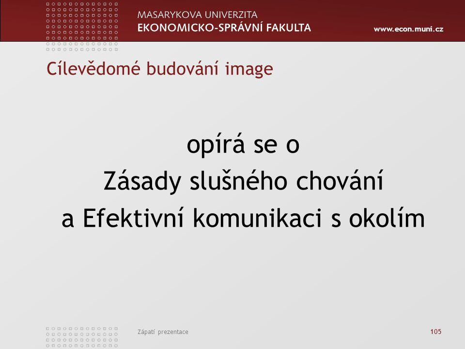 www.econ.muni.cz Zápatí prezentace 105 Cílevědomé budování image opírá se o Zásady slušného chování a Efektivní komunikaci s okolím