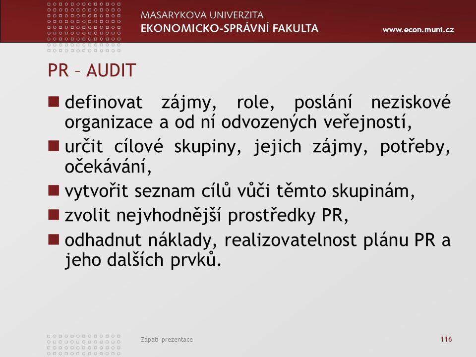 www.econ.muni.cz Zápatí prezentace 116 PR – AUDIT definovat zájmy, role, poslání neziskové organizace a od ní odvozených veřejností, určit cílové skup