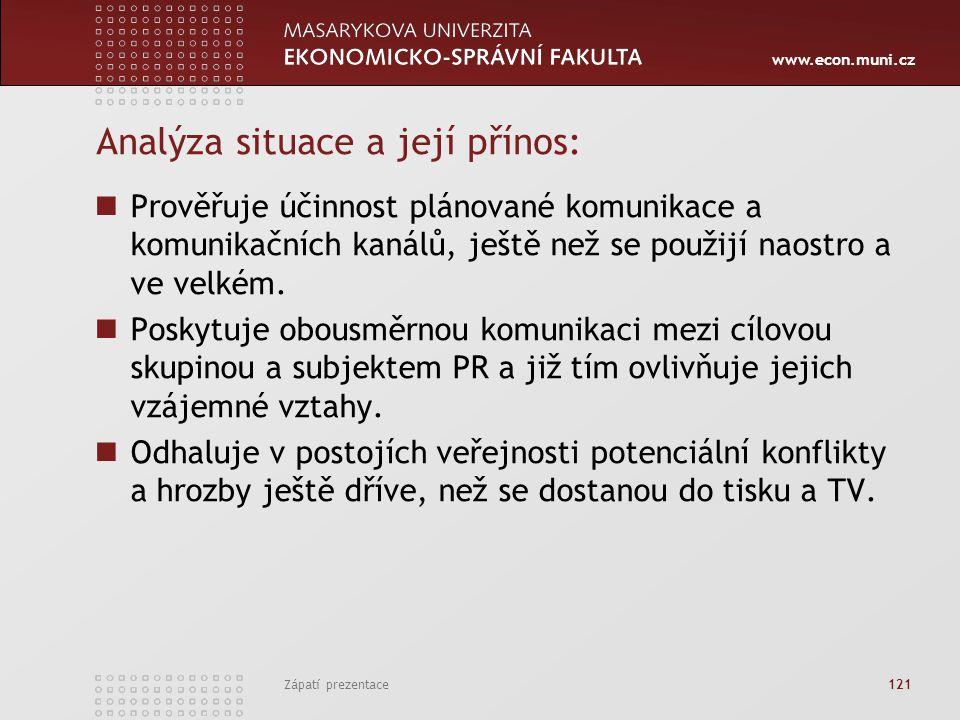 www.econ.muni.cz Zápatí prezentace 121 Analýza situace a její přínos: Prověřuje účinnost plánované komunikace a komunikačních kanálů, ještě než se pou