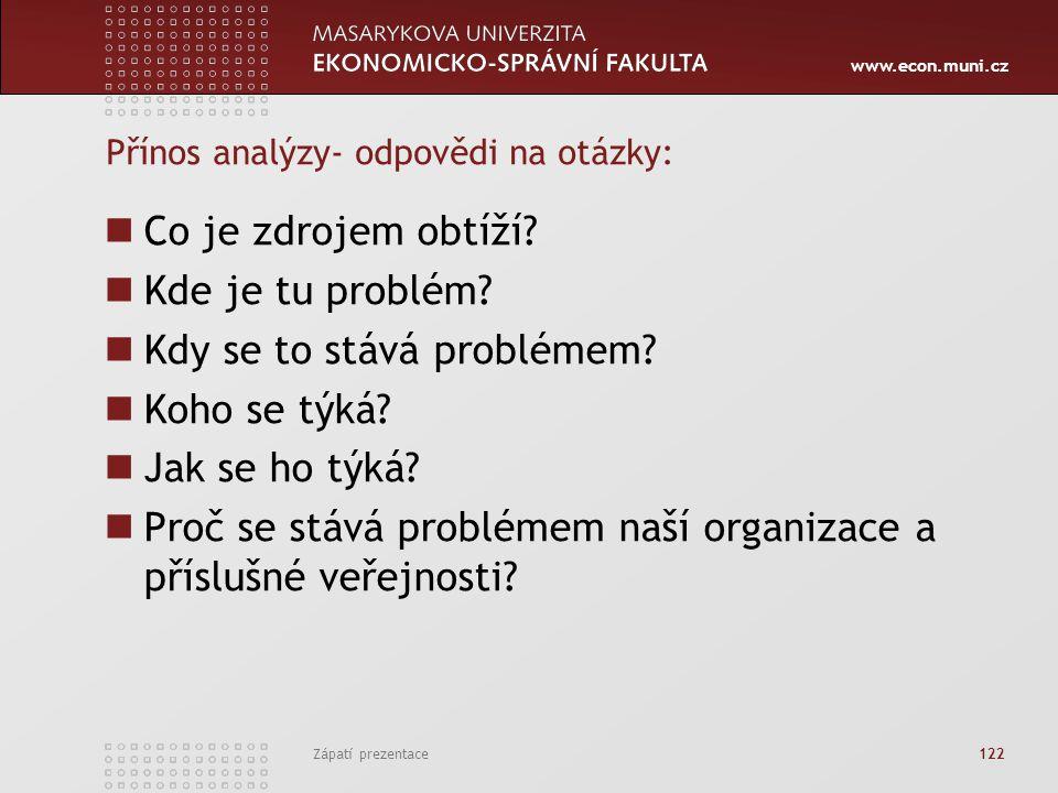 www.econ.muni.cz Zápatí prezentace 122 Přínos analýzy- odpovědi na otázky: Co je zdrojem obtíží? Kde je tu problém? Kdy se to stává problémem? Koho se