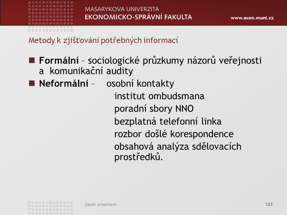 www.econ.muni.cz Zápatí prezentace 123 Metody k zjišťování potřebných informací Formální – sociologické průzkumy názorů veřejnosti a komunikační audit
