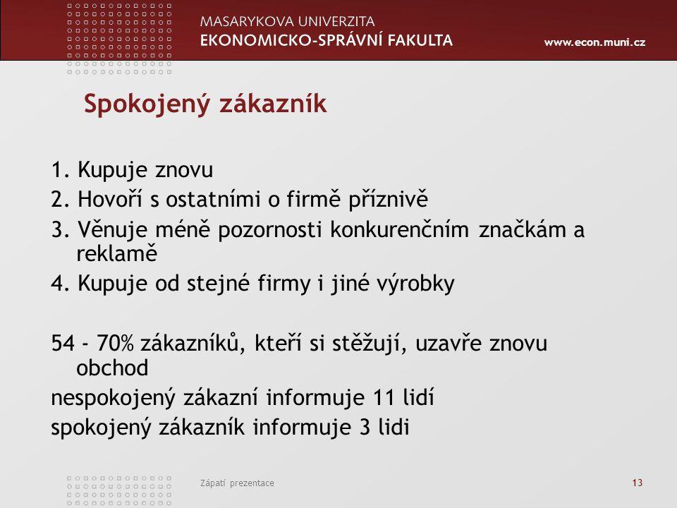 www.econ.muni.cz Zápatí prezentace 13 Spokojený zákazník 1. Kupuje znovu 2. Hovoří s ostatními o firmě příznivě 3. Věnuje méně pozornosti konkurenčním