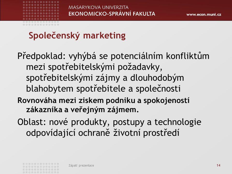 www.econ.muni.cz Zápatí prezentace 14 Společenský marketing Předpoklad: vyhýbá se potenciálním konfliktům mezi spotřebitelskými požadavky, spotřebitel