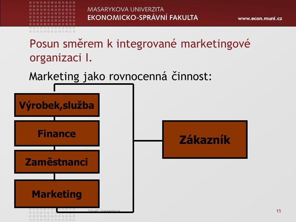 www.econ.muni.cz Zápatí prezentace 15 Posun směrem k integrované marketingové organizaci I. Marketing jako rovnocenná činnost: Výrobek,služba Finance