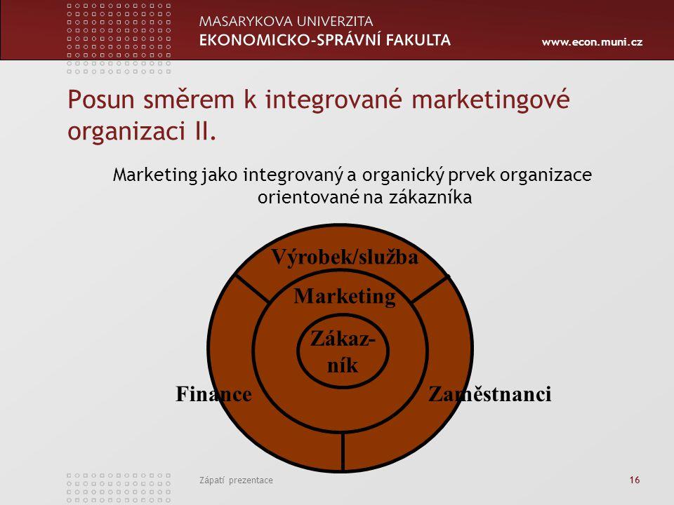 www.econ.muni.cz Zápatí prezentace 16 Posun směrem k integrované marketingové organizaci II. Marketing jako integrovaný a organický prvek organizace o